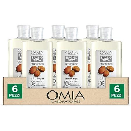 Omia, Bagnoseta Erboristico All'Olio di Argan, Bagnoschiuma per Pelli Aride e Irritabili - 6 Confezioni da 400 ml