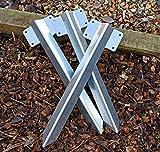 Paquete de 10 soportes de madera para traviesa de ferrocarril, camino de entrada, borde recto, resistente – acero galvanizado