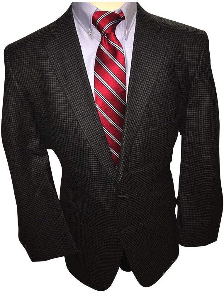 Classic Portly Executive Irish Gentleman's Wool Sport Jacket in Grey Mini Check