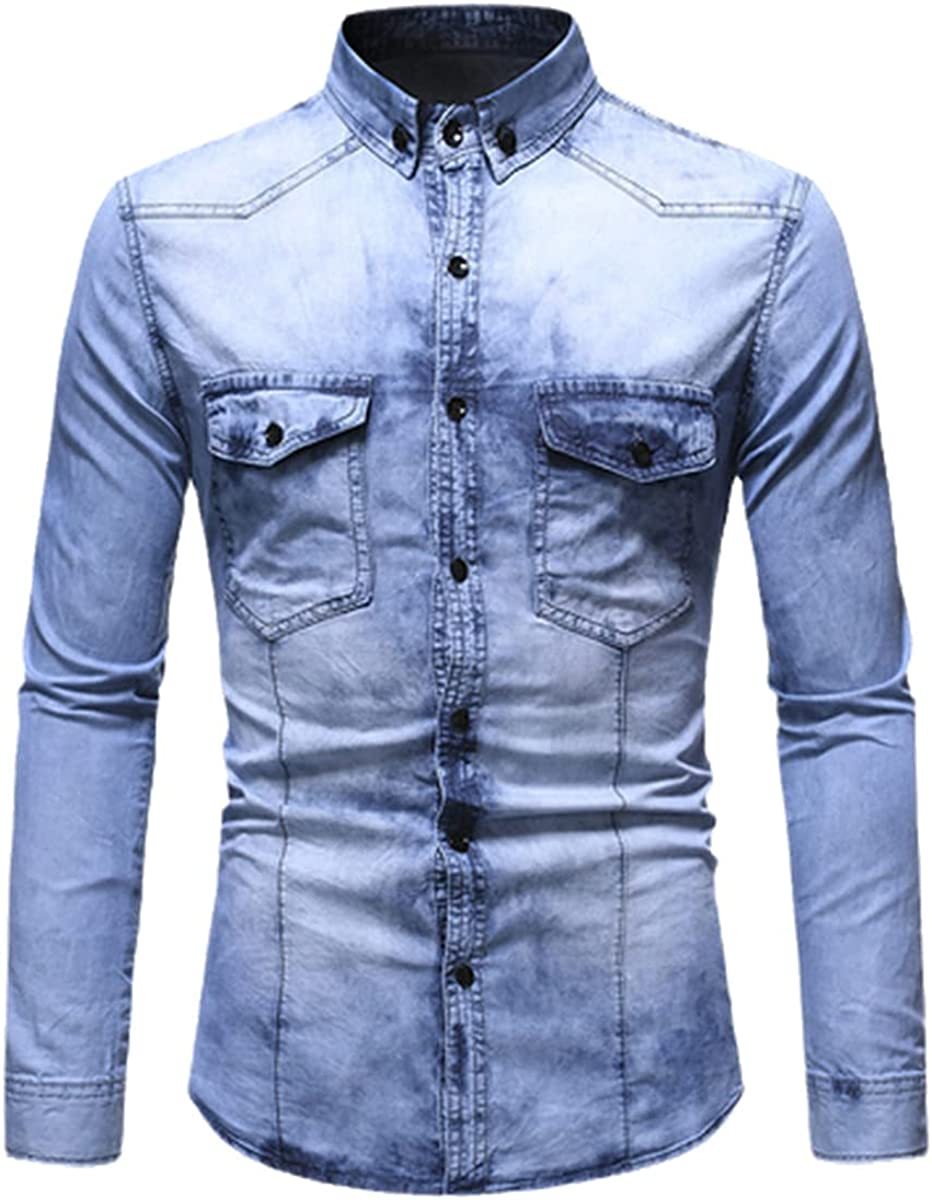 CACLSL Spring Jeans Shirt Men's Slim Washed Long-Sleeved Shirt Streetwear Sports Denim Shirt