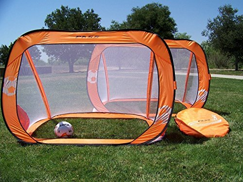Pass 6 x 4 Ft. Orange Pop-up/Fold-able, Portable Soccer Football Nets w/Carry Case. Two 6x4 Foot Soccer Goals (Pair)