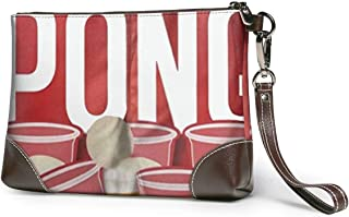 Beer Pong Canvas Makeup Bag Pouch Purse Handbag Organizer with Zipper