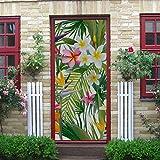 Etiqueta engomada de la puerta 3d de arte moderno, hojas de palmera tropical, flores, fondo transparente, vector, pelar y pegar, calcomanía de vinilo extraíble para puerta para decoración del hogar,
