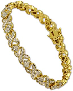 18 K Gold Plated XOXO Link Tennis Bracelet CZ Bracelets with Sparking Wave Pave Crystal Wrap Cubic Zirconia for Men and Women