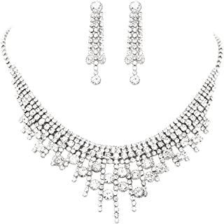 """Rosemarie Collections Women's Circular Crystal Rhinestone Bridal Necklace and Earrings Set, 13""""-18"""" with 5"""" Extender"""