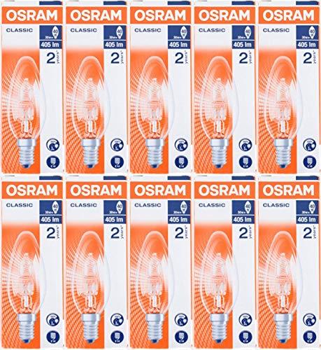 Osram Classic Eco Superstar Leuchtmittel, 30W (= 40W), Kerzenform, SES 240v, E14, Halogen, energiesparend, kleine Edison-Schraube, 405Lumen, dimmbare Lampen, 10 Stück