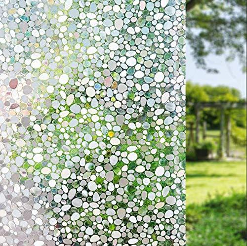 LEMON CLOUD Fensterfolie Selbsthaftend Blickdicht Sichtschutzfolie Fenster 3D Fensterfolie 44.5 x 200 cm Sichtschutz Glasfolie Statisch Haftend UV-Schutz ohne Kleber Dekofolie
