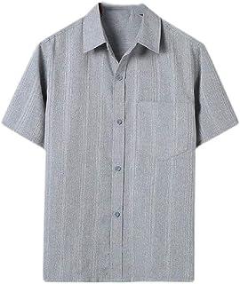 MogogNMen Button Down Linen Summer Pure Colour Relaxed Short-Sleeve Shirts