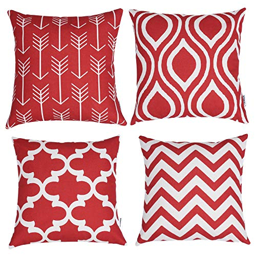 TIDWIACE Red Cushion Covers Decorative New Living Accent Pillowcase for Car Home 18 x 18 inch 45 x 45 cm, Set of 4 Red Series