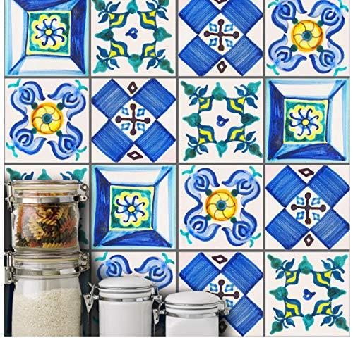 Blaue Fliesen 3D Keramische Wandaufkleber-Küchenmöbel-Toilettenwand Wasserdichte Raumapplikations-Pvc-Tapetentaille