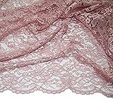 Russo Tessuti Tessuto Abbigliamento Vestiti Donna Merletto Macrame' Pizzo Balzato a Metraggio-Rosa Antico