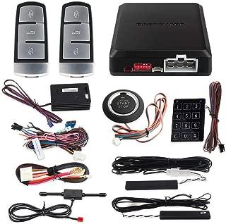 EASYGUARD EC002-V0-NS PKE car Alarm System with Push Engine Start Stop Button Remote Engine Start auto Lock Unlock car Door Shock Sensor Warning Touch Password keypad Hopping Code