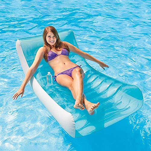 Aufblasbarer Pool-Liegestuhl, Schaukel-Lounge am Pool, Schwimmliege Sitzring Schwimmbett mit Getränkehalter für Erwachsene Kinder 188 135 cm