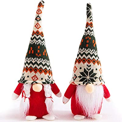 3 Packs Swedish Tomte Christmas Gnome Ornaments 3 Styles Handmade Scandinavian Christmas Tomte Knitting Nordic Nisse Santa Elf Plush Dolls for Xmas Thanksgiving Winter Holiday Table Decor Ideal Gifts