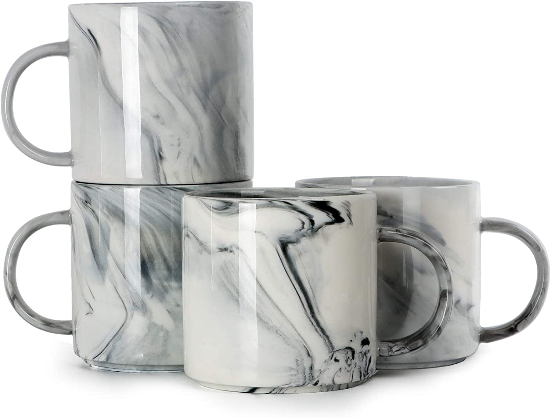 12 oz Coffee Mugs, Harebe Stackable Novelty Marble Ceramic Cup for Men Women Boy Girl Lover, Family Mug Set of 4, Gray