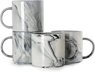 12 oz Coffee Mugs, SHOWFULL Stackable Novelty Marble Ceramic Cup for Men Women Boy Girl Lover, Family Mug Set of 4, Grey