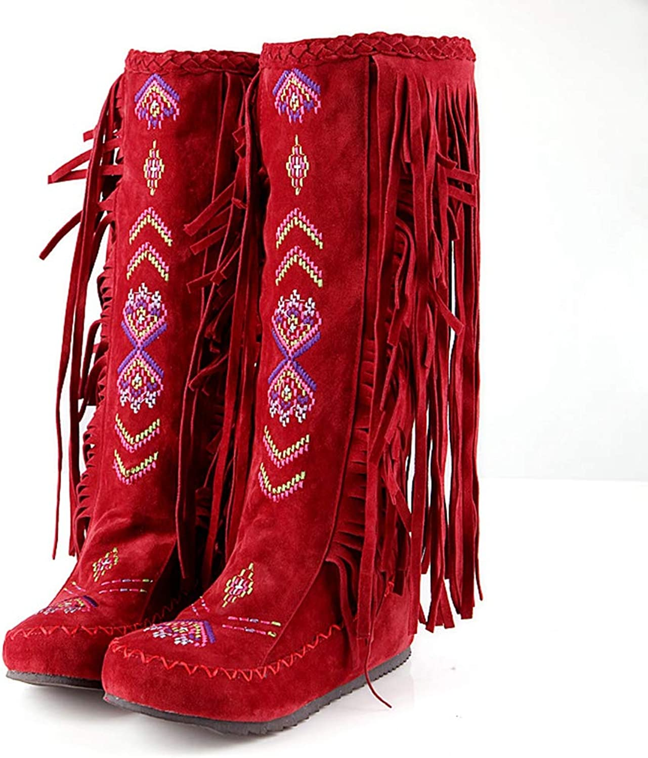 CYBLING Winter Warm Snow Boots for Women Suede Fringed Tassels Flat Low Heel Mid Calf Boots