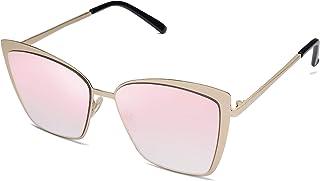 Cateye Sunglasses for Women Fashion Mirrored Lens Metal...