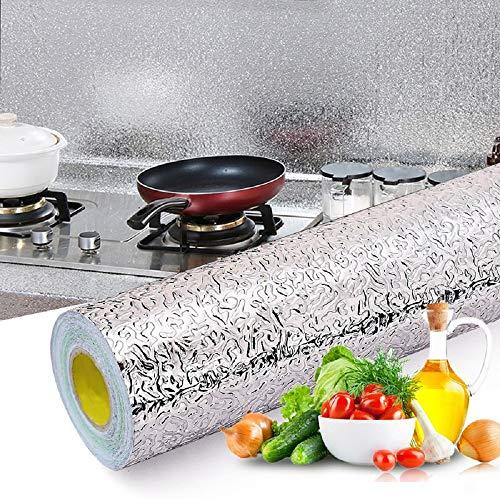 Kitchen Backsplash Wallpaper Stickers, Peel & Stick Aluminum Foil Wall Paper, Self-Adhesive Oil...