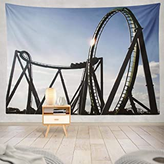 Yararg Wall Hanging Tapestry Steel Blue Park Beach California Carnival Coast Fast Wall Tapestry Dorm Home Decor Bedroom Living Room in 80X60 Inch,Steel Blue Park