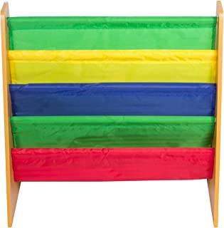 KC CUBS Clean N Tidy Children's Wood & Fabric Book Organizer & Storage Rack Bookshelf Display for Boys & Girls Kids Playroom, Baby Nursery, Classroom Daycare and Toddler Bedrooms, Primary Colors