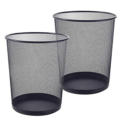 Tosnail 2 Stück Papierkorb Metall, großer Papiereimer fürs Büro, Runder Mülleimer, Draht, Mesh, Ø 23*27cm, Schwarz