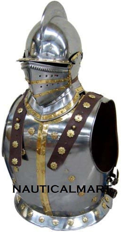 de moda Medieval Knight Armor - Pechopetral con Bergonet casco casco casco Halloween disfraz  Mejor precio