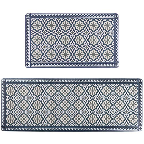 "Seavish Kitchen Floor Mat,Anti Fatigue Blue Boho Kitchen Runner Rug Padded Rubber Cushioned Standing Mats 2 Piece Set 17"" x 30""+17"" x 47"", Memory Foam Non Slip Waterproof PVC Leather Sink Rug"