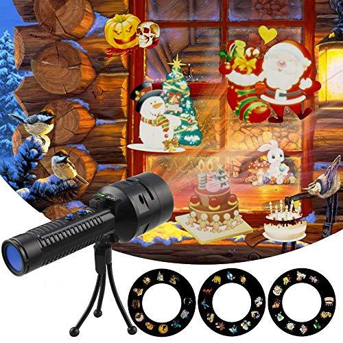 Luces de proyector portátiles de Navidad - Proyector de anime recargable Linterna Luces de paisaje para...