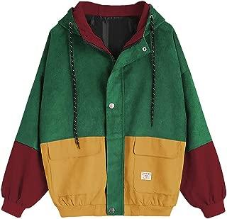 Tanhangguan Women Teen Girls Vintage Long Sleeve Color Block Corduroy Hooded Jacket Coat Windbreaker