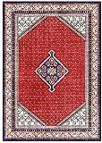 Alfombra de salón de moqueta, estilo étnico persa, alfombra roja para mesita de noche o salón (tamaño: 120 x 160 cm)