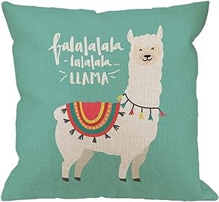HGOD DESIGNS Llama Throw Pillow Cover Case,Cute Llama FA La La Design Falala Cotton Linen Outdoor Pillow Cases Square Standard Cushion Covers for Sofa Couch Bed 18x18 inch