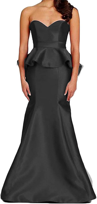 Ellystar Women's Sweetheart Satin Mermaid Long Backless Sleeveless Prom Dresses