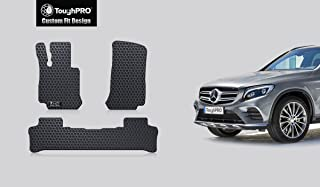 ToughPRO Floor Mats Set (Front Row + 2nd Row) Compatible with Mercedes-Benz GLC - All Weather - Heavy Duty - (Made in USA) - Black Rubber - 2016, 2017, 2018, 2019, 2020