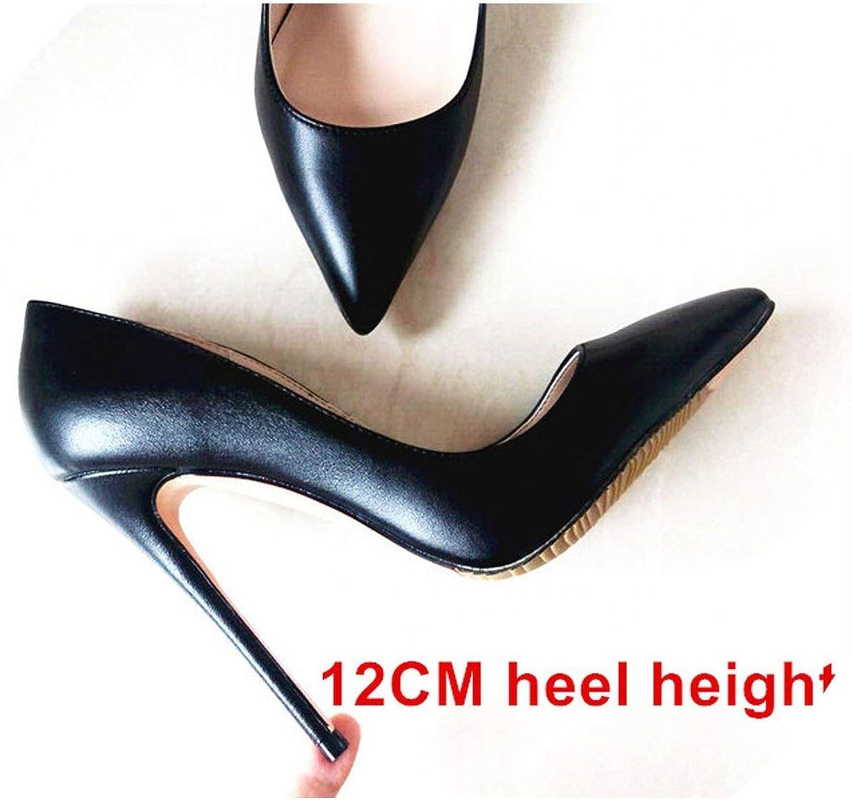 Heeled -Sandelsoos kvinna kvinna kvinna High klackar kvinnor skor Pump Stilettos skor for kvinnor svart High klackar 12Cm Pu läder bröllop skor, svart 12Cm Heel,9  mest föredragna