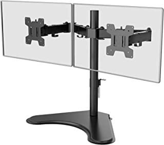 WALI Free Standing Dual LCD Monitor Fully Adjustable Desk Mount Fits 2 Screens up to 27 inch, 22 lbs. Weight Capacity per ...