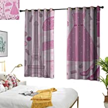 Warm Family Eclipse Curtains Heels and Dresses,Paris Fashion Atelier French Boutique Feminine Glamor Eiffel, Baby Pink Mauve Magenta 84