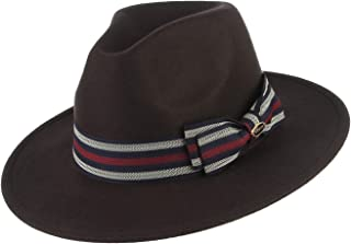 DEMU Fedora Hats for Men Women 100% Wool Wide Brim Hat Trilby Panama Hat Hat Size 57cm