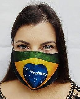Máscara de Proteção Facial Personalizada Estampada Tecido Reutilizável Lavável Brasil