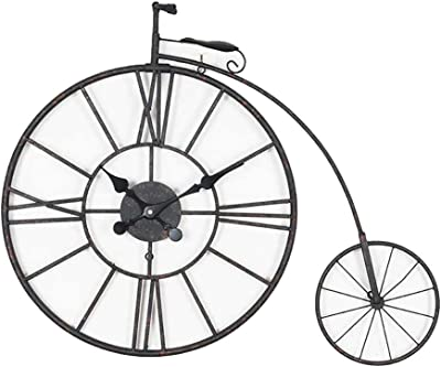 NS Reloj De Pared, Vendimia Bicicleta Grande Retro Silencio Sala ...