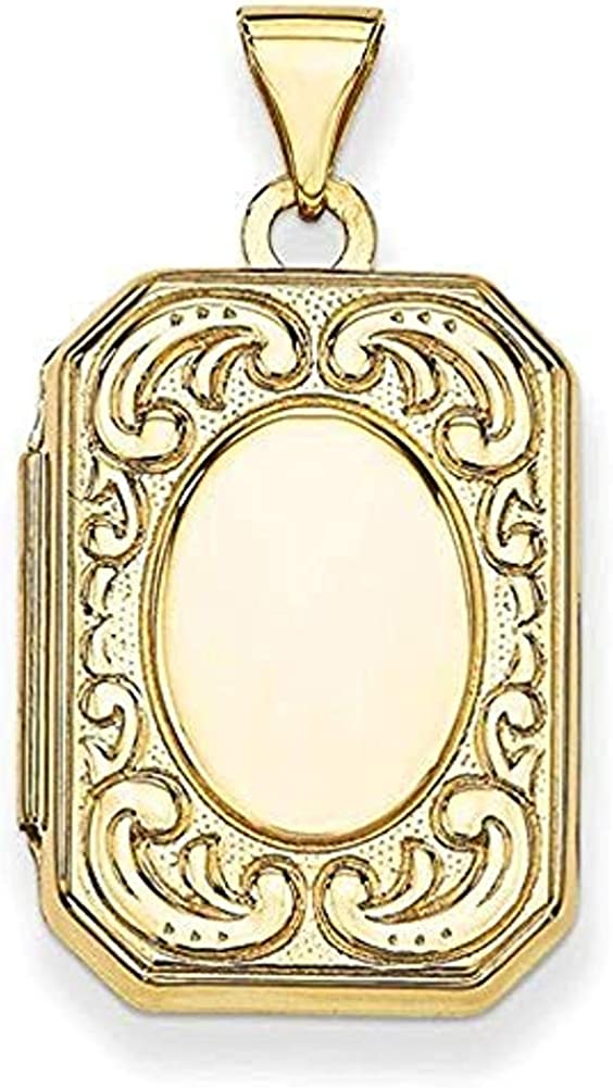 PicturesOnGold.com Solid 14K Yellow Gold Emerald Shaped Locket - 2/3 Inch X 3/4 Inch in Solid 14K Yellow Gold