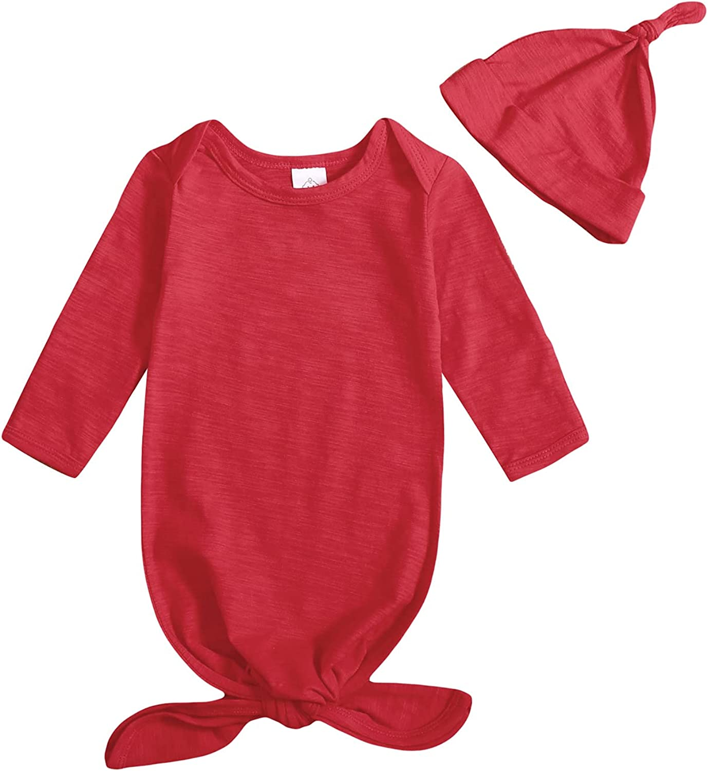 OPAWO Unisex Baby Solid Sleeper Gown with Mitten Cuffs and Matching Hat for Boys Girls