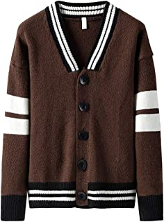Ellymi Mens Sweaters V-Neck Cable Knit Button Down Cardigans Chunky Casual Slim Fit Fall Winter Jackets Coats