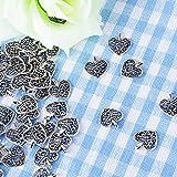 AONER 100 Stück Mini Anhänger Herz Anhänger Charms Perlen für Gastgeschenk Hochzeit Geschenkbox Armband Schmuck Herstellung Findings Zubehör DIY Handwerk - 7