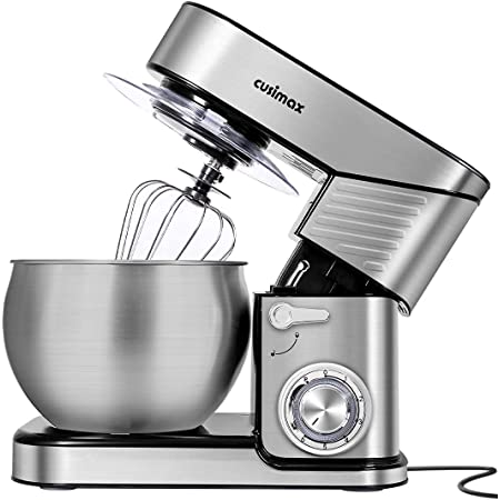 Stand Mixer, CUSIMAX 6.5-QT Stainless Steel Mixer 6-Speeds Tilt-Head Dough Mixers for Baking with Dough Hook, Wire Whisk & Flat Beater, Splash Guard for Home Cooking kitchen Mixer, Silver