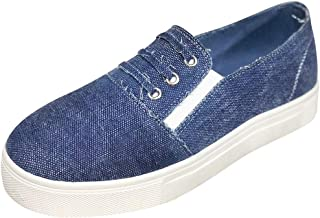 Dunacifa Women's Canvas Flats Shoes Ladies Autumn Denim Casual Canvas Shoes Sneakers Loafers Slip On Shoes