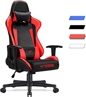 Vitesse Gaming Chair (Sillas Gaming) Video Gaming Chair Ergonomic Computer Desk Chair High Back Racing Style Comfortable Chair Swivel Executive Leather Chair with Lumbar Support and Headrest (Red-1)