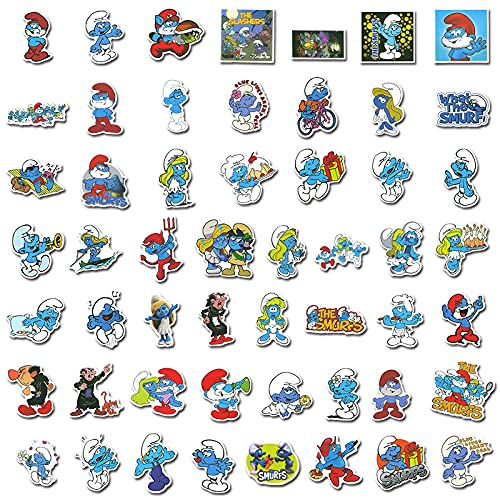 BUCUO Dibujos Animados Lindo pitufo Graffiti Maleta Pegatinas teléfono móvil portátil Taza de Agua Pegatinas Impermeables