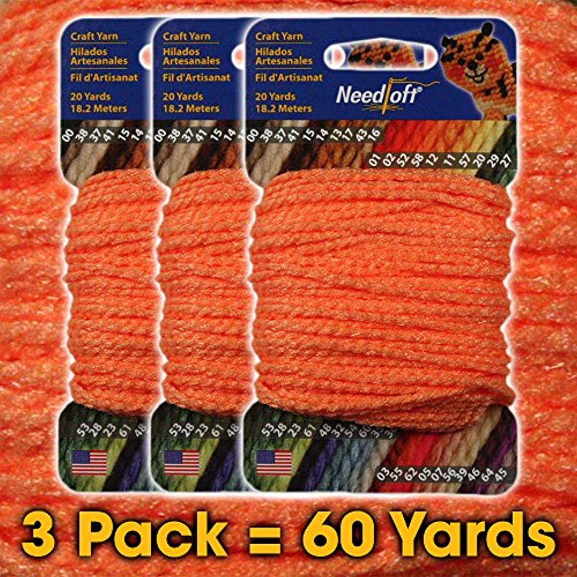 #58 Bright Orange - Needloft Craft Yarn 3 Pack 60 Yards (3x20yds)