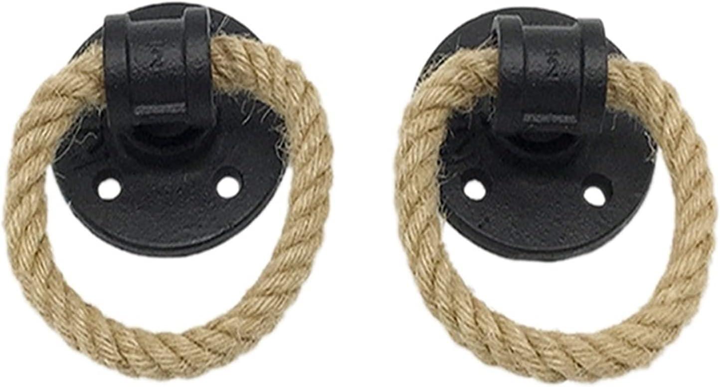 AILIUQIAN Vintage Drop Selling rankings Ring Drawer Japan Maker New Knobs Hemp Bronze Black Rope